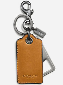 New Mens Coach Brown Leather Bottle Opener Key Ring Keychain