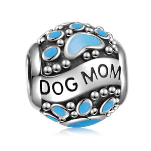 Exquiste AUTHENTIC Sterling Silver SS 925 Blue Enamel Dog Mom Charm
