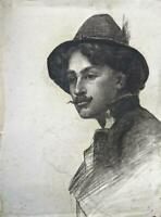 THOMAS HEAPHY Antique Chalk Drawing GENTLEMAN IN HAT PORTRAIT - 19TH CENTURY
