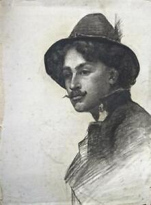 THOMAS HEAPHY Antique Chalk Drawing GENTLEMAN IN HAT PORTRAIT - 19TH CENTURY