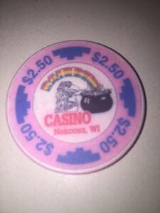 RAINBOW CASINO NEKOOSA WI Casino CHIP $2.50 Eagle Pot Of Gold Obsolete Pink