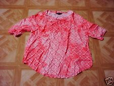 Fourteenth Place Women's Orange/White Peasant Blouse with Tie Front 12-14 Large