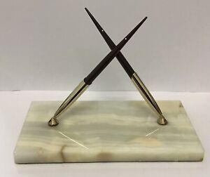 Vintage Sheaffer White Dot Marble Onyx 14k Gold Nib Fountain Pen Desk Set