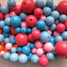 Wholesale & Job Lot 500g Acrylic Beads Mixed Size 6 - 22mm For Crafts Jewellery
