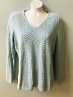 Talbots V-neck Sweater Blue Lightweight Long Sleeve MP Medium Petite Cable Knit