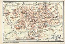 Carta geografica antica TREVISO Pianta della città TCI 1920 Old antique map