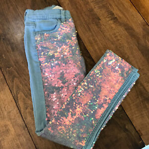 Justice Jeans Size 12 Full Sequin Front Mid Rise Super Skinny Soft And Stretchy