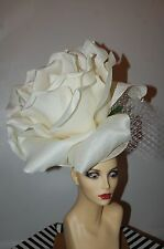 GIANT 50CM IVORY ROSE FASCINATOR IDEAL FOR ASCOT BY HATS2GO MADE TO ORDER