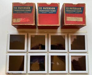 36 x Vintage Paterson 6cm x 6cm (Large Format) Glass Photo Slide Frames Mounts