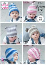 Baby Double Knitting Pattern Easy Knit Hats Helmet & Beret King Cole 5105