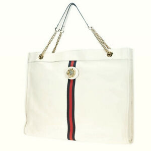 New Gucci White Leather Maxi XL Rajah Tote Bag