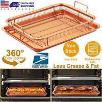 Non Stick Crisper Tray Set Cookie Sheet Tray Air Fry Pan Grill Basket Oven Rack