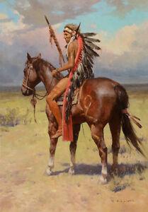 Native American Indian Warrior Horse Landscape Canvas Print A3