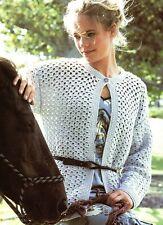 "Crochet Pattern - Ladies Crew-Neck Cardigan/Jacket 6 sizes (32""-42"" bust) A0150"