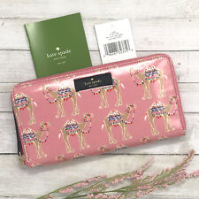 NWT Kate Spade Daycation Pink Camel Party Neda Zip Around Wallet Purse MSRP $158