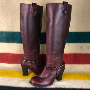 Frye Cognac Leather Julia Spur Inside Zip Knee High Harness Boots Sz 7 B J017
