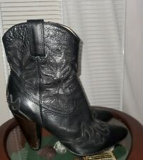 Frye Regina Overlay Heeled Cowboy Boot Sz 8 Black Etched Leather
