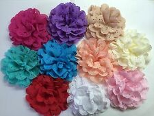 "Wholesale 10 Pcs 4"" Fabric Flowers No Clips Baby Girl Hair Bow Supplies."