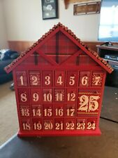 Wooden Christmas House Countdown Advent Calendar Holiday Decoration Red New