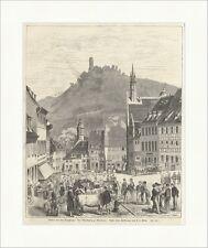Bilder von der Bergstraße: Der Marktplatz zu Weinheim Elliot Holzstich E 12411