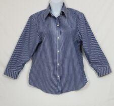 Ralph Lauren Women's Blue & White Pinstriped Shirt Size Medium