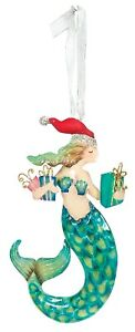 Mermaid in Santa Hat with Gifts Christmas Holiday Ornament
