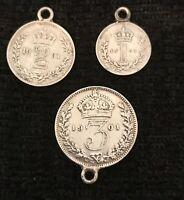 Veiled Queen Victoria Maundy Money Silver Coins 1d 2d 3d pence 1901  (D2T)