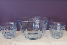 BLUE GLASS PANELED SALAD BOWL WITH FOUR MATCHING SMALL BOWLS