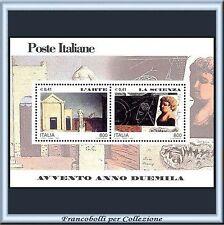 2000 Italia Repubblica Foglietto Avvento Anno Duemila Arte Scienza  n. 25 **