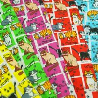 Kitty Cats Paw Prints On Squares And Rectangles Polycotton Fabric