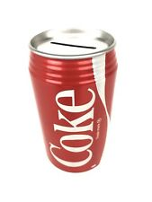 Coca-Cola  Coke Tin Can Piggy, Coin, Money Bank Red Swish Logo 12 Oz Can Rep