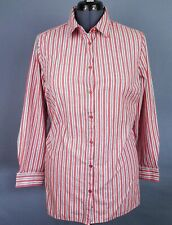 Roaman's Womens Shirt 20W Red White Striped Long Sleeve Button Front Cotton Top