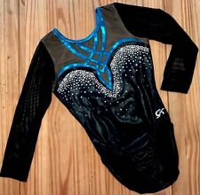 GK ELITE Gymnastics LEOTARD Blue BLING Black SWAROVSKI RHINESTONE Competition AS