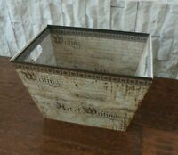"""THE ART OF WRITING by Punch Studio Wood Waste Basket Trash Can 15"""" x 10"""" x 10"""""""