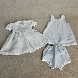 """11"""" Blue Doll Dress w slip & panties for 16"""" to 18"""" antique or vintage Doll"""