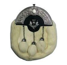 Scottish Full Dress Kilt Sporran White Rabbit Fur Celtic Cantle Thistle Crest