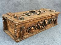 Large antique german black forest glove box early 1900's woodwork flowers 2lb