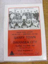 11/04/1989 Welsh CUP SEMIFINALE: BARRY Town V Swansea City. buone condizioni UNL