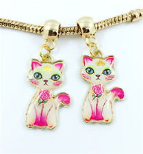 2pcs Cat Gold European Charm Crystal Spacer Beads Fit Necklace Bracelet DIY ~!