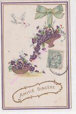 CPA GAUFREE EMBOSSED Amitié sincère paniers fleurs violette pigeon message 1907