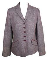 Kaliko Purple & White Button Front Jacket Wool & Silk Blend Tweed Style UK 12