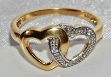 """9ct YELLOW GOLD ON SILVER """"ENTWINED HEART"""" RING - size R """"Never Ending Love"""""""