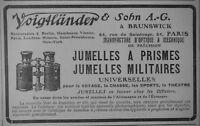 PUBLICITÉ DE PRESSE 1908 VOIGTLANDER JUMELLES A PRISMES MILITAIRES - ADVERTISING