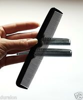 """2 Black Pocket Combs 6"""" Hair Comb Fine Teeth Quality Strong Plastic Gents Ladies"""