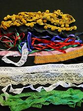 Vintage Lace Ribbon Velvet Pom Craft Trim Eyelet Hem Lot 23 Yards Doll Quilt
