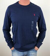 Polo Ralph Lauren Mens Designer Long Sleeve Custom Fit T Shirt Blue S, M, L