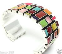 TAXCO MEXICAN 925 STERLING SILVER MULTI INLAY MOSAIC MOTIF CUFF BRACELET MEXICO