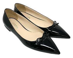 PRADA Logo Ribbon Pumps Flats Comfort Shoes #38 US 7.5 Black Patent RankAB