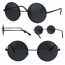 Mens All Black Round Circle Lens Hippie Groovy Metal Rim Sunglasses