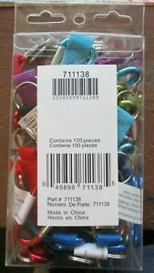 Lot of 100  Hillman Carabiner Carabiner with Strap and Key ring ASSORTED COLORS